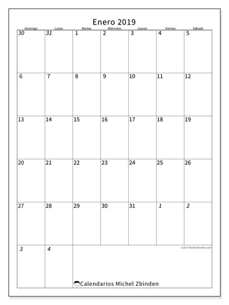 Calendario enero 2019, 68DS. Calendario gratuito para imprimir.