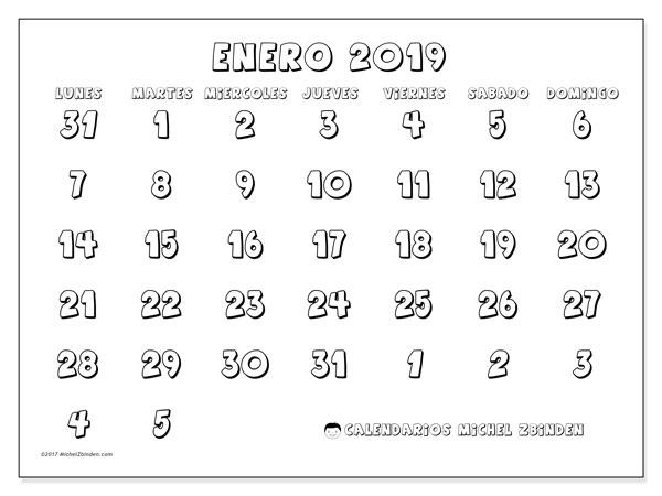 Calendario enero 2019 (71LD). Calendario para el mes para imprimir gratis.