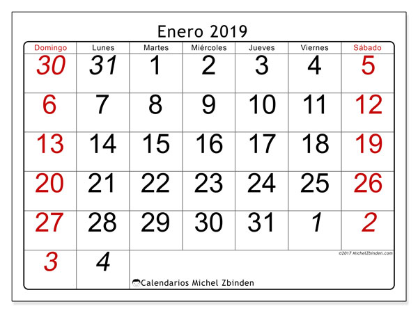 Calendario enero 2019, 72DS. Calendario gratuito para imprimir.
