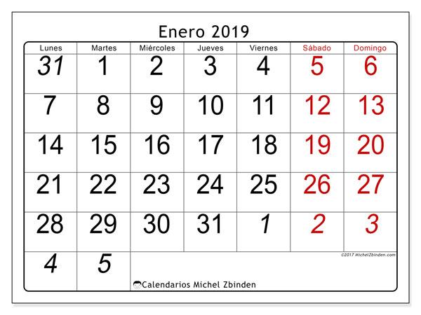 Calendario enero 2019, 72LD. Calendario imprimible gratis.