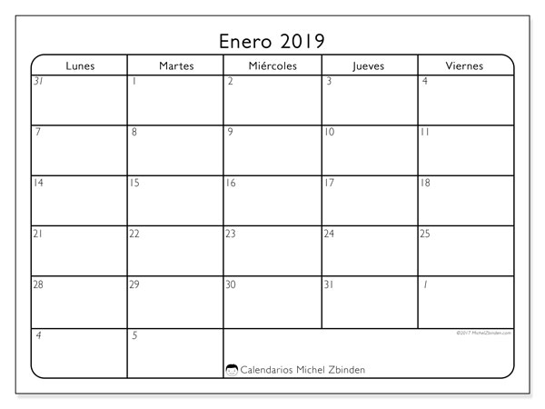 Calendario enero 2019 (74LV). Calendario imprimible gratis.