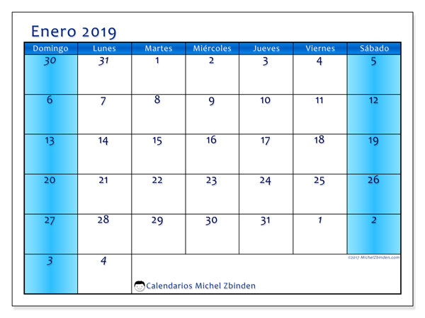Calendario enero 2019, 75DS. Calendario mensual para imprimir gratis.
