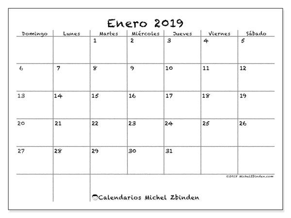 Calendario enero 2019, 77DS. Almanaque para imprimir gratis.