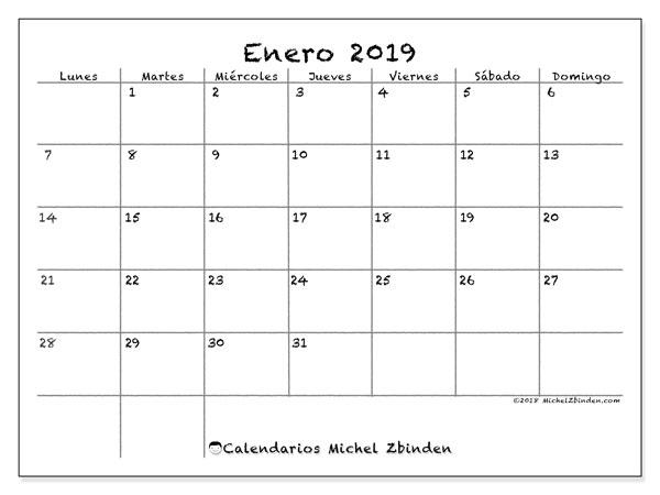 Calendario enero 2019 (77LD). Calendario para el mes para imprimir gratis.