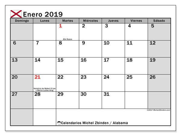 Calendario enero 2019, con días feriados de Alabama. Calendario vacaciones y festivos para imprimir gratis.