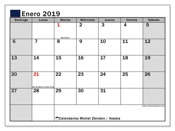 Calendario enero 2019, con los días feriados en Alaska. Calendario imprimible gratis.