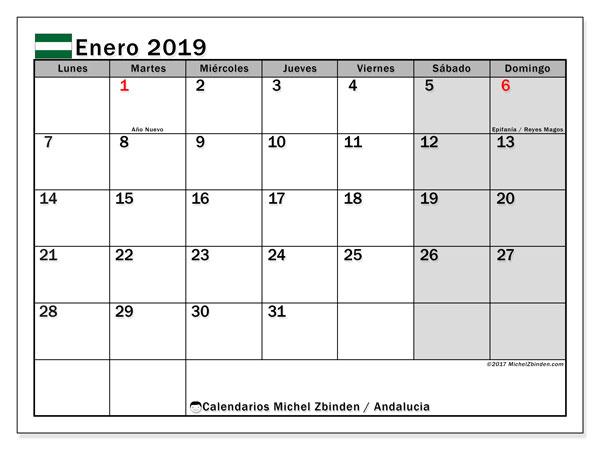 Calendario enero 2019, con los días festivos de Andalucia. Calendario gratuito para imprimir.