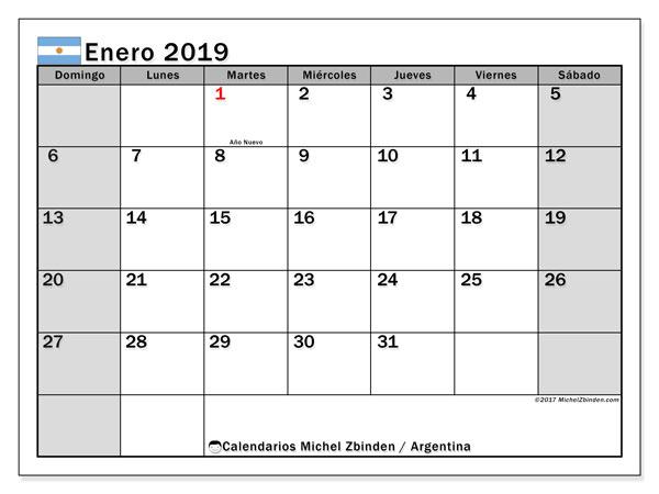 Calendario enero 2019, con los días feriados en Argentina. Planificación para imprimir gratis.