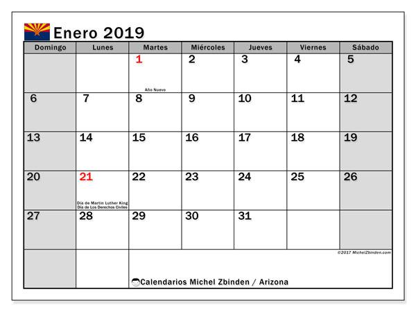Calendario enero 2019, con los días feriados en Arizona. Calendario mensual para imprimir gratis.