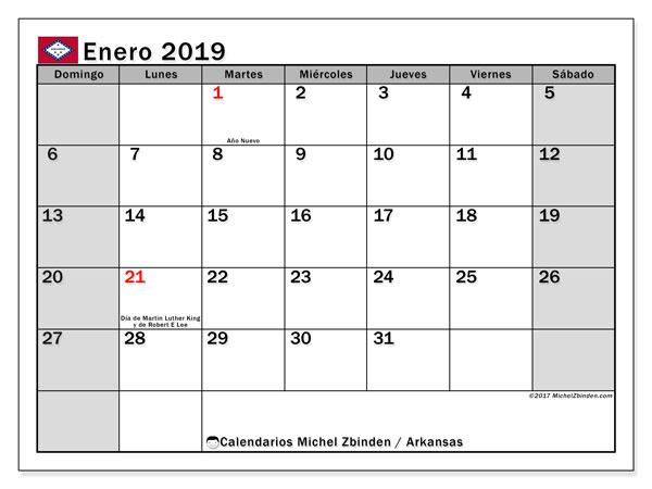 Calendario enero de 2019 - Arkansas. Calendario para imprimir: fiestas oficiales y días feriados.