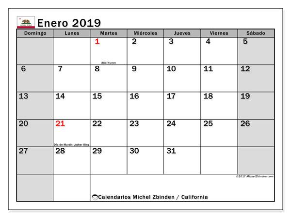 Calendario enero 2019, con los días feriados en California. Calendario para el mes para imprimir gratis.