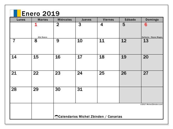 Calendario enero 2019, con los días festivos de las Islas Canarias. Calendario mensual para imprimir gratis.