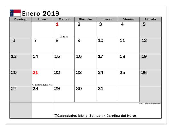 Calendario enero 2019, con días feriados en Carolina del Norte. Calendario vacaciones y festivos para imprimir gratis.