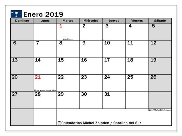 Calendario enero de 2019 - Carolina del Sur. Calendario para imprimir: fiestas oficiales y días feriados.