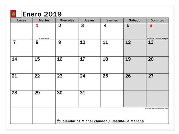 Calendario enero 2019, con días feriados en Castilla-La Mancha. Calendario vacaciones y festivos para imprimir gratis.