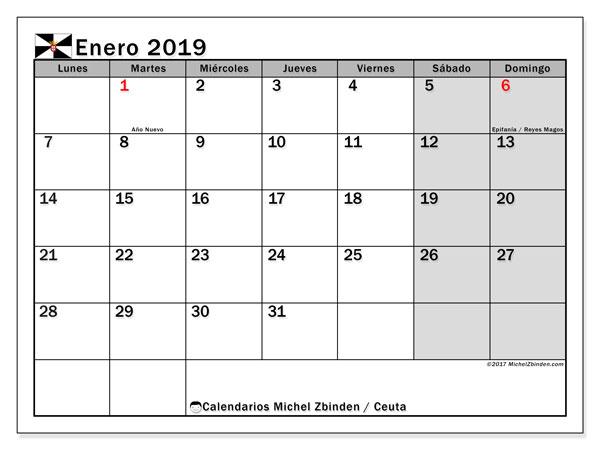 Calendario enero 2019, con los días festivos de Ceuta. Calendario gratuito para imprimir.