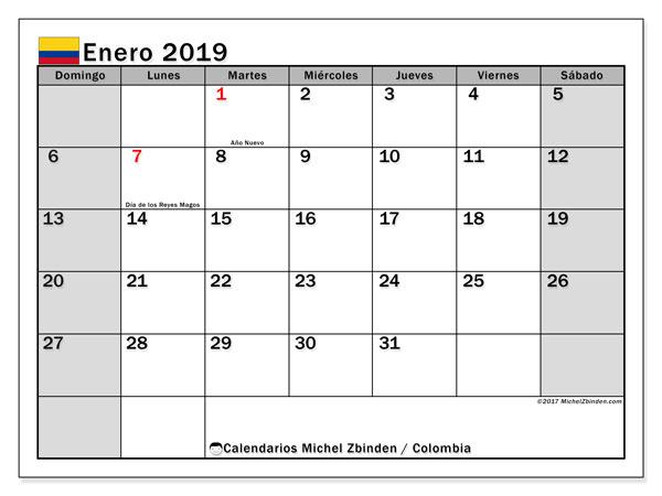 Calendario enero 2019, con los días festivos en Colombia. Calendario mensual para imprimir gratis.
