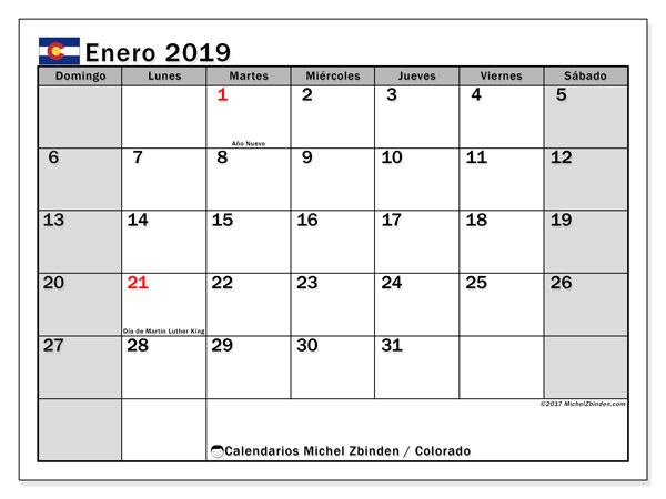 Calendario enero de 2019 - Colorado. Calendario para imprimir: fiestas oficiales y días feriados.