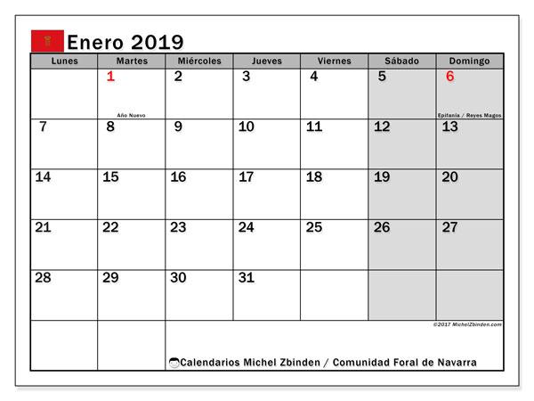 Calendario enero 2019, con los días festivos para la Comunidad Foral de Navarra. Calendario para imprimir gratis.