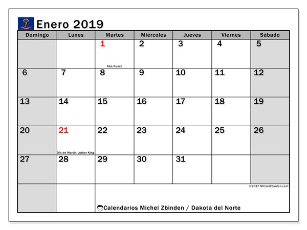 Calendario Dakota del Norte, enero 2019
