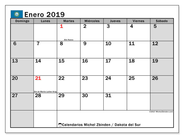 Calendario Dakota del Sur, enero 2019