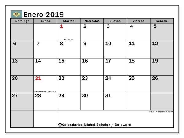 Calendario enero 2019, con los días feriados de Delaware. Calendario para imprimir gratis.