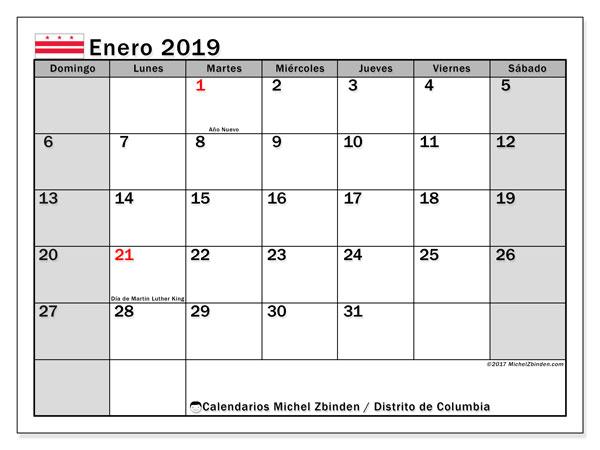 Calendario enero 2019, con días feriados del Distrito de Columbia. Calendario para imprimir gratis con días festivos.
