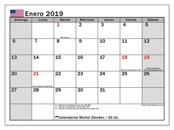 Calendario enero 2019, con los días feriados en EE.UU.. Calendario mensual para imprimir gratis.