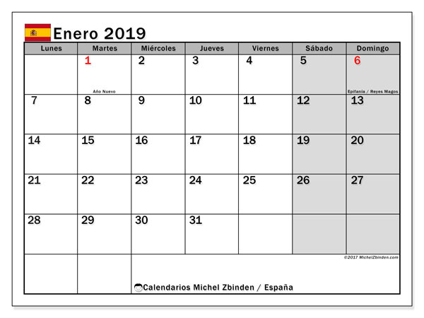Calendario enero 2019, con días feriados en España. Calendario para imprimir gratis con días festivos.