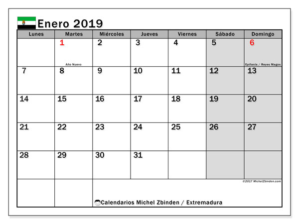 Calendario enero 2019, con los días festivos de Extremadura. Calendario mensual para imprimir gratis.