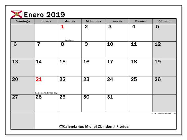 Calendario enero 2019, con los días feriados en Florida. Calendario gratuito para imprimir.