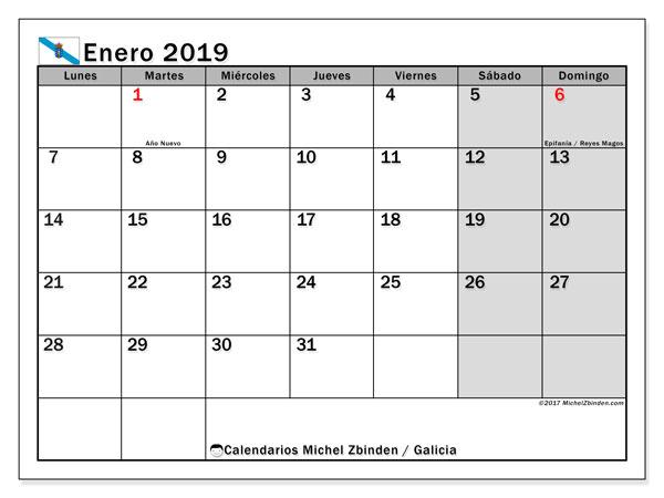 Calendario enero 2019, con los días festivos en Galicia. Calendario para imprimir gratis.