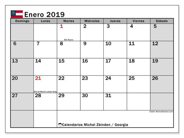 Calendario enero de 2019 - Georgia. Calendario para imprimir: fiestas oficiales y días festivos.