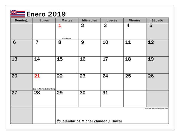 Calendario enero 2019, con los días feriados en Hawái. Planificación para imprimir gratis.