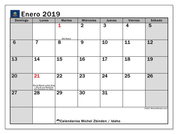 Calendario enero 2019, con los días feriados de Idaho. Calendario imprimible gratis.
