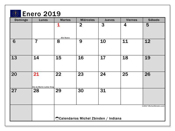 Calendario enero de 2019 - Indiana. Calendario para imprimir: fiestas oficiales y días festivos.