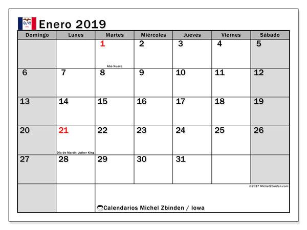 Calendario enero 2019, con los días feriados en Iowa. Almanaque para imprimir gratis.