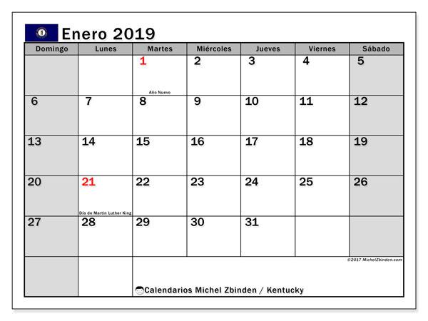 Calendario enero 2019, con los días feriados en Kentucky. Calendario para el mes para imprimir gratis.