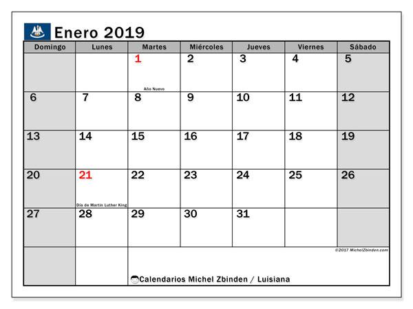 Calendario enero 2019, con los días feriados en Luisiana. Calendario para imprimir gratis.