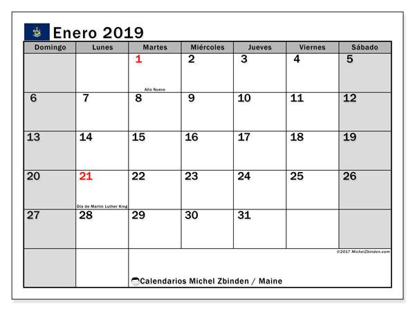 Calendario enero de 2019 - Maine. Calendario para imprimir: fiestas oficiales y días festivos.