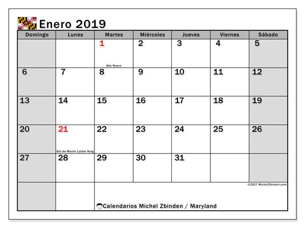 Calendario enero 2019, con los días feriados en Maryland. Calendario mensual para imprimir gratis.