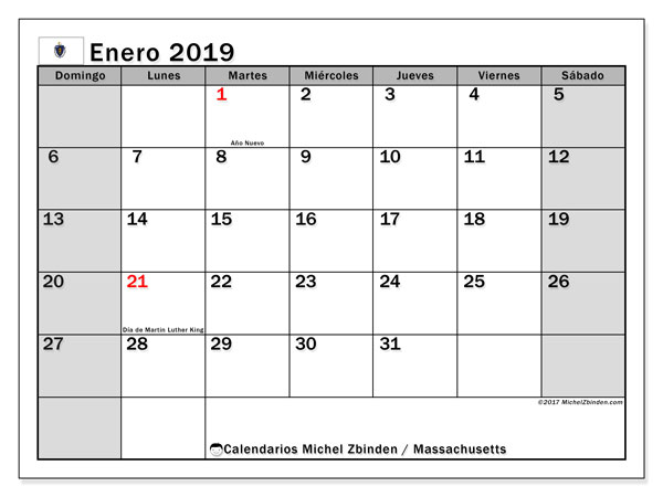 Calendario Massachusetts, enero 2019