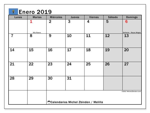 Calendario enero de 2019 - Melilla. Calendario para imprimir: fiestas oficiales.