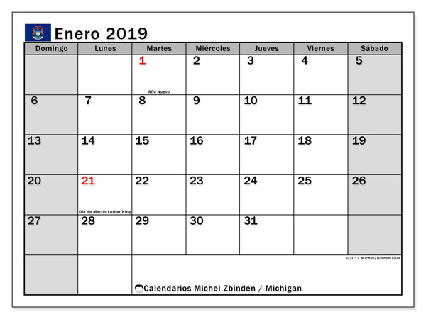 Calendario Míchigan, enero 2019