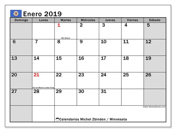 Calendario enero 2019, con los días feriados de Minnesota. Almanaque para imprimir gratis.