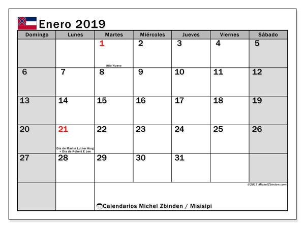 Calendario enero de 2019 - Misisipi. Calendario para imprimir: fiestas oficiales y días feriados.
