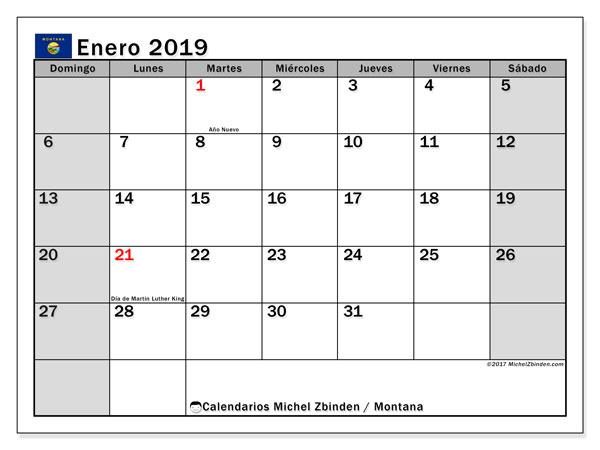 Calendario enero 2019, con los días feriados en Montana. Calendario para imprimir gratis.