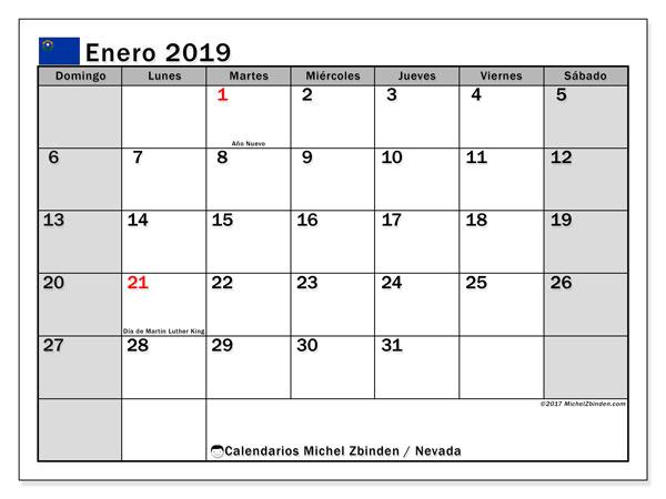 Calendario enero 2019, con los días feriados en Nevada. Calendario gratuito para imprimir.