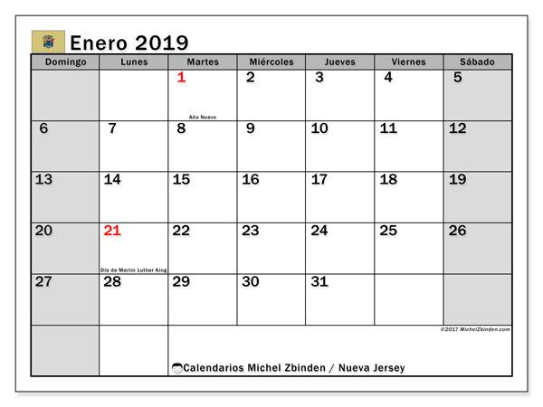 Calendario enero 2019, con los días feriados de Nueva Jersey. Calendario para imprimir gratis.
