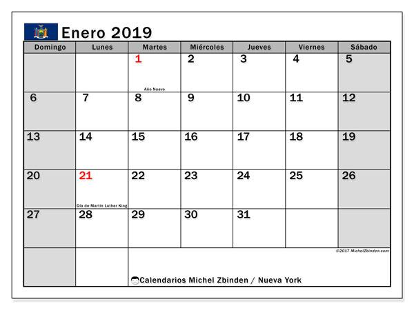 Calendario enero 2019, con los días feriados de Nueva York. Calendario para el mes para imprimir gratis.